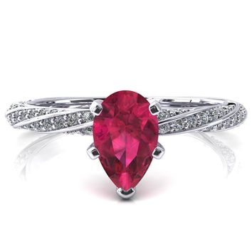 Elysia Pear Ruby 5 Prong 3/4 Eternity Diamond Accent Ring