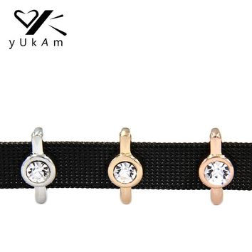 YUKAM Jewelry Crystal Rhinestone Bezel Solitaire Slide Charms Keeper for Stainless Steel Mesh Keeper Bracelet Accessories Making