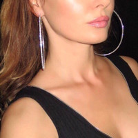 Huge Crystal Hoops. Silver or Gold Plated. Trendy Earrings. Very Big Crystal Hoops. Large Hoop Earrings. Sexy Earrings.