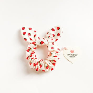 bunny bow hair scrunchie strawberry-ponytail holder-hair tie-hair accessories -kawaii-sweet-kitsch-handmade by Love Factory ny