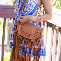 Desert Sunset Tan Leather Fringe Side Bag