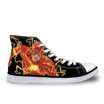 Men Casual Shoes 2016 Fashion Men's High Top Canvas Shoes,Cool Cartoon Super Hero The Flash Printed Shoes for Male Breathable