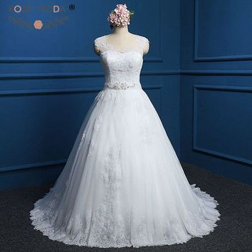 Rose Moda Lace Wedding Dress with Crystal Sash Cap Sleeves Lace Ball Gown Plus Size Wedding Dresses 2018