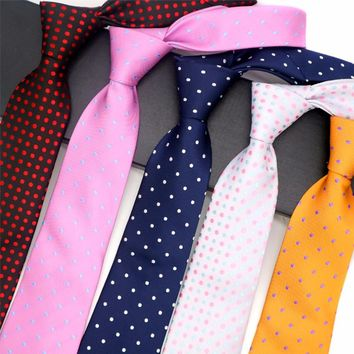16 Color Fashion Mens Tie 8CM 100% Silk Necktie Jacquard Woven Polka Dot Neck Ties Neckwear For Men Business Wedding Party