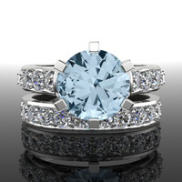 Aquamarine and Diamond Engagement Ring and Band 3.50 CTW