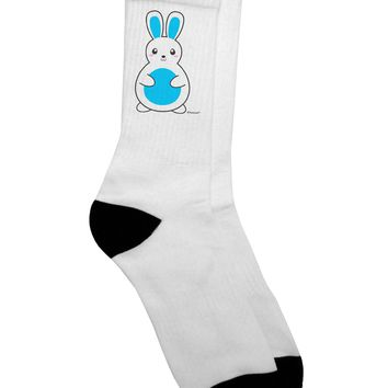 Cute Easter Bunny - Blue Adult Crew Socks - by TooLoud