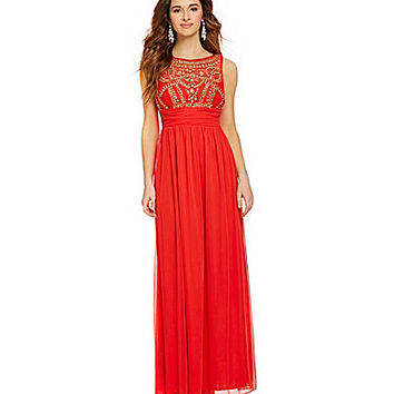 B. Darlin Jeweled Illusion Bodice Gown | Dillards.com