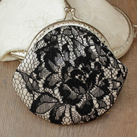 Black White Lace Coin purse - Wedding Bridal Clutch - Wedding Bridesmaid Small Lace Clutch - Wedding Ring Holder - Party Gift - Set