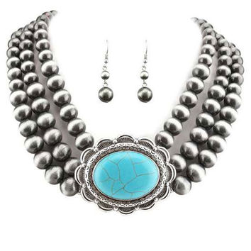 Navajo Pearl W/ Oval  Turquoise Stone Necklace Set.