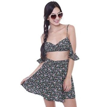 T1556C Floral Bralette With Off Shoulder Detail Junior's Clothing