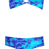 Mexico Cut Out Tye Dye Print Bandeau Bikini
