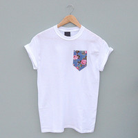 Blue Floral Pocket Tee by Patch Apparel