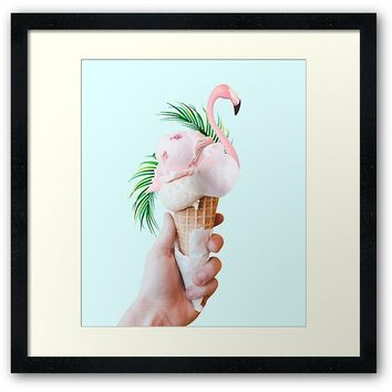 'Tropical Ice Cream #redbubble #decor #buyart' Framed Print by 83oranges