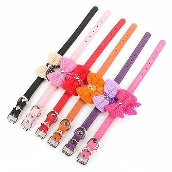 Small Pet Dogs Cat Collar Knit Bowknot Adjustable Leather Puppy Choker Necklaces