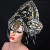 READY TO SHIP Trinity Royalty beaded Gothic romantic beaded Mortisha Queen Rhinestone Goddess masked silver Fantasy headdress headpeice wig