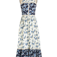 Boho Long Sleeveless Maxi Patchwork of Flowers Dress