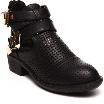 Stoli Perforated Side Cutout Ankle Bootie by Fashion Lab