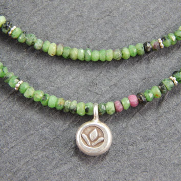 Ruby zoisite necklace,  Anyolite necklace, 2 strand necklace, lotus charm necklace