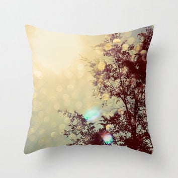 Pillow Cover, Nature Photography, Golden Sky, Gold Lights, Sunlight, Spring Decor, Living Room, Bedroom, 16x16, 18x18