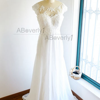 Boho Beach Sheer Illusion See Through Lace Chiffon Wedding Dress Bridal Gown with Cap Sleeves