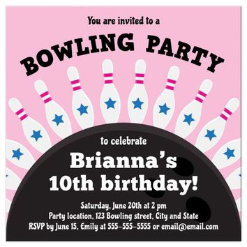 Bowling birthday party invite for girls, pins standing on top of ball
