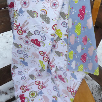 Bunnies, Bikes and Clouds Flannel Receiving or Swaddling Blanket, Double Layer, 2 Layer Serged Blanket, New Design, Crib or Stroller Blanket