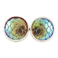 Red & Gold Iridescent Dragon Scale Earrings