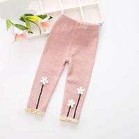 Girl leggings children pants autumn winter toddler girls pants cotton cartoon flowers skinny baby leggings
