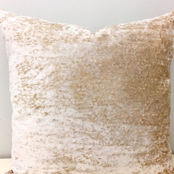 Beige Velvet Pillow Cover, Beige Pillow, Decorative Pillows, Pillow, Beige Velvet Cushion Covers,Beige Velvet Couch Throw Pillows Covers