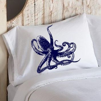 Navy Blue Octopus Ocean Beach Nautical Pillowcase pillow cover | Royalkane - Housewares on ArtFire