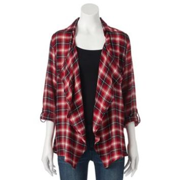 About A Girl Plaid Drape-Front Cardigan - Juniors