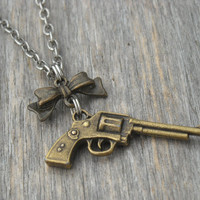 Gun Necklace Pistol Necklace Revolver Necklace Gun Jewelry Western Pistol Bow Necklace Bow Jewelry Guns Bows Cowgirl Hunter Pistol Jewelry