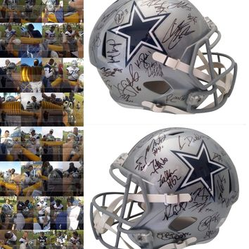 2019 Dallas Cowboys Team Autographed Riddell Speed Style Full Size Football Helmet, Proof Photos