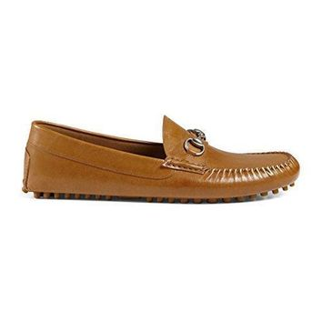 Gucci Men's Brown Leather Horsebit Driver Moccasin Loafers Shoes