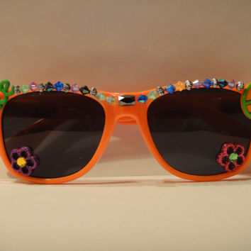Neon Orange Peace Hippie Inspired Wayfarer Style Sunglasses