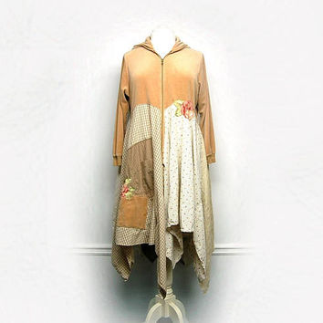 Linen Duster Jacket, Plus Size Duster, Velvet Hoodie, Boho Shabby Chic Mori Girl Clothing, Free People Anthroplogie Style, Upcycled Clothing