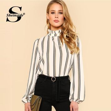 Sheinside White Striped Stand Collar Elegant Tops Office Ladies Workwear Long Sleeve Regular Fit Women Blouses