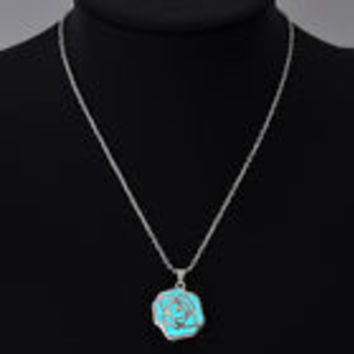 Blue glow in the dark rose flower pendant necklace, key ring, or rear view mirror hanger
