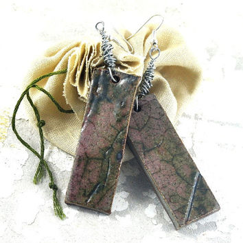 Handmade Ceramic Statement Leaf Earrings Rustic Textured Dusty Pink Moss Green Dangle Wire Wrapped Jewellery