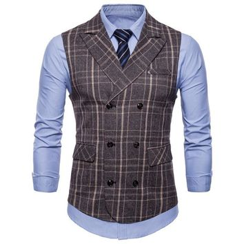 Sleeveless Double Breasted Waistcoat - Slim Fit Tweed Men Classic Vest