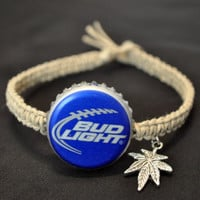 Blue Bud Light Football Recycled Beer Cap Hemp Macrame Ankle Bracelet with Marijuana Leaf Charm