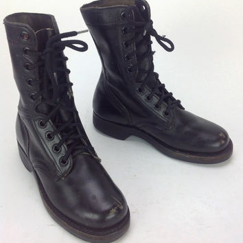 Women's Kids Youth Black Leather Lace Up Combat Military Jump Boots 1981 Sz. 3 1/2 R US Womens 6 6 1/2