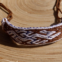 woven bracelet, table weaving bracalet, colorful brown white wrist band, cotton braclet, ethnic latvian pattern, handmade weave boho jewelry