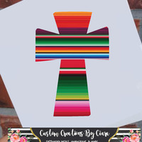 Serape Cross Decal | Serape Sticker | Texas Cross Decal | Aztec Cross Decal | Yeti Decal | Car Decal | Laptop Decal | Christian Decal