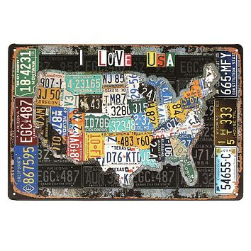 Route Plate Number Personality Metal Sign Vintage American flag pattern Painting Plaques Retro nostalgia Bar wall decoration