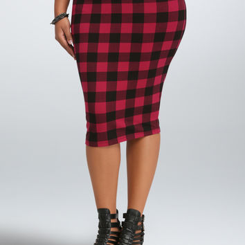 Plaid Midi Foldover Skirt