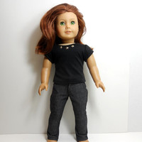 American Girl Doll Pants, Slim Cut Slacks,Charcoal Gray