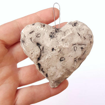 Heart hanging wall gift decor faux stone polymer clay valentines day for her