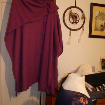 Purple Cotton SHAWL Wrap Ruana Drape Jacket Scarf Poncho Happy Coat Boho Hippie Hippy Festival Tribal