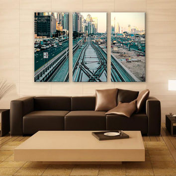 Urban Transport Canvas Print 3 Panels Print Cityscape Art Wall Deco Fine Art Photography Repro Print for Home and Office Wall Decoration